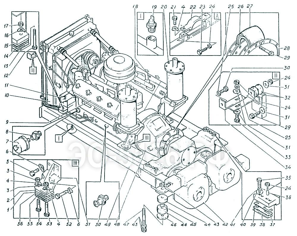 ЭО-5126 - Установка дизеля и насосов
