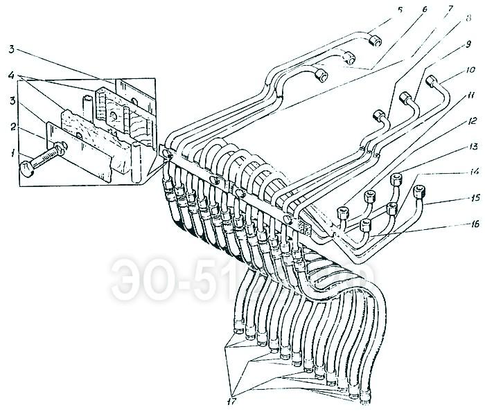 ЭО-5126 - Трубопроводы управления стрелой