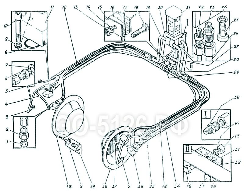 ЭО-5126 - Трубопроводы гусеничной тележки