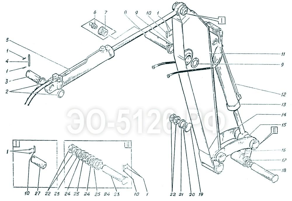 ЭО-5126 - Установка рукояти обратной лопаты