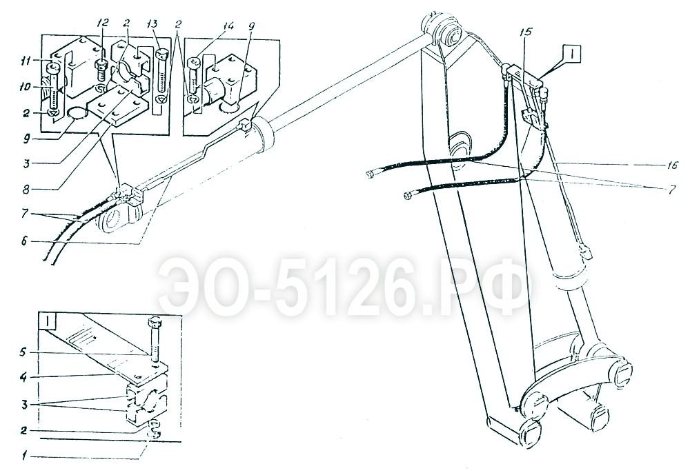 ЭО-5126 - Трубопроводы рукояти (рабочего оборудования)