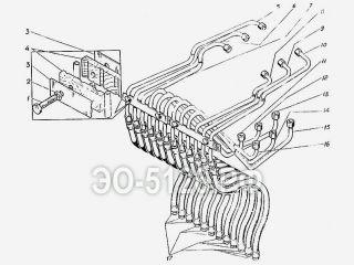 Трубопроводы управления стрелой ЭО-5126